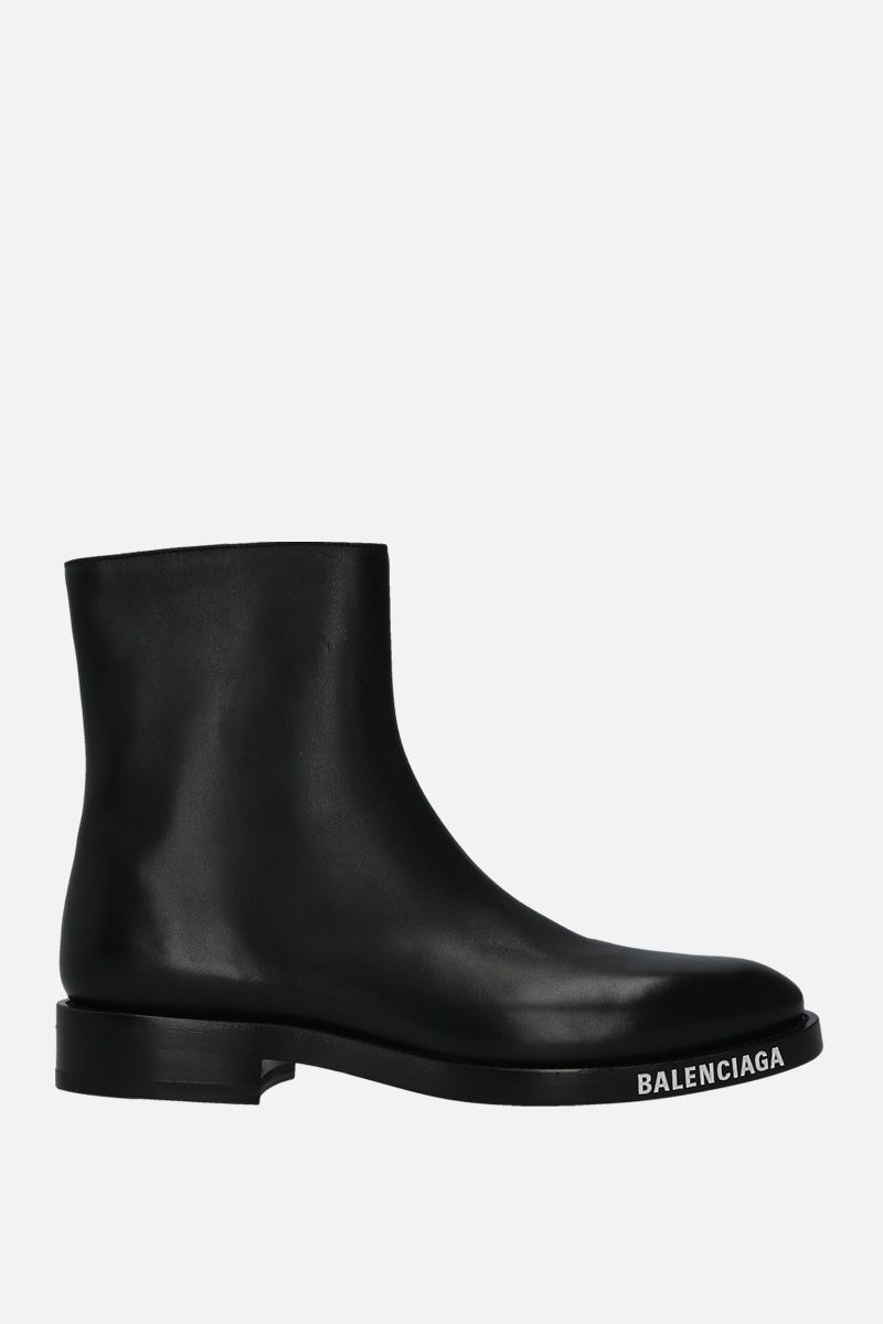 BALENCIAGA: shiny leather ankle boots Color Black_1
