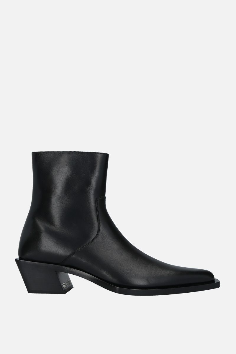 BALENCIAGA: Tiaga shiny leather western boots Color Black_1