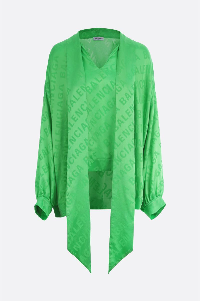 BALENCIAGA: Vareuse silk jacquard oversized blouse Color Green_1