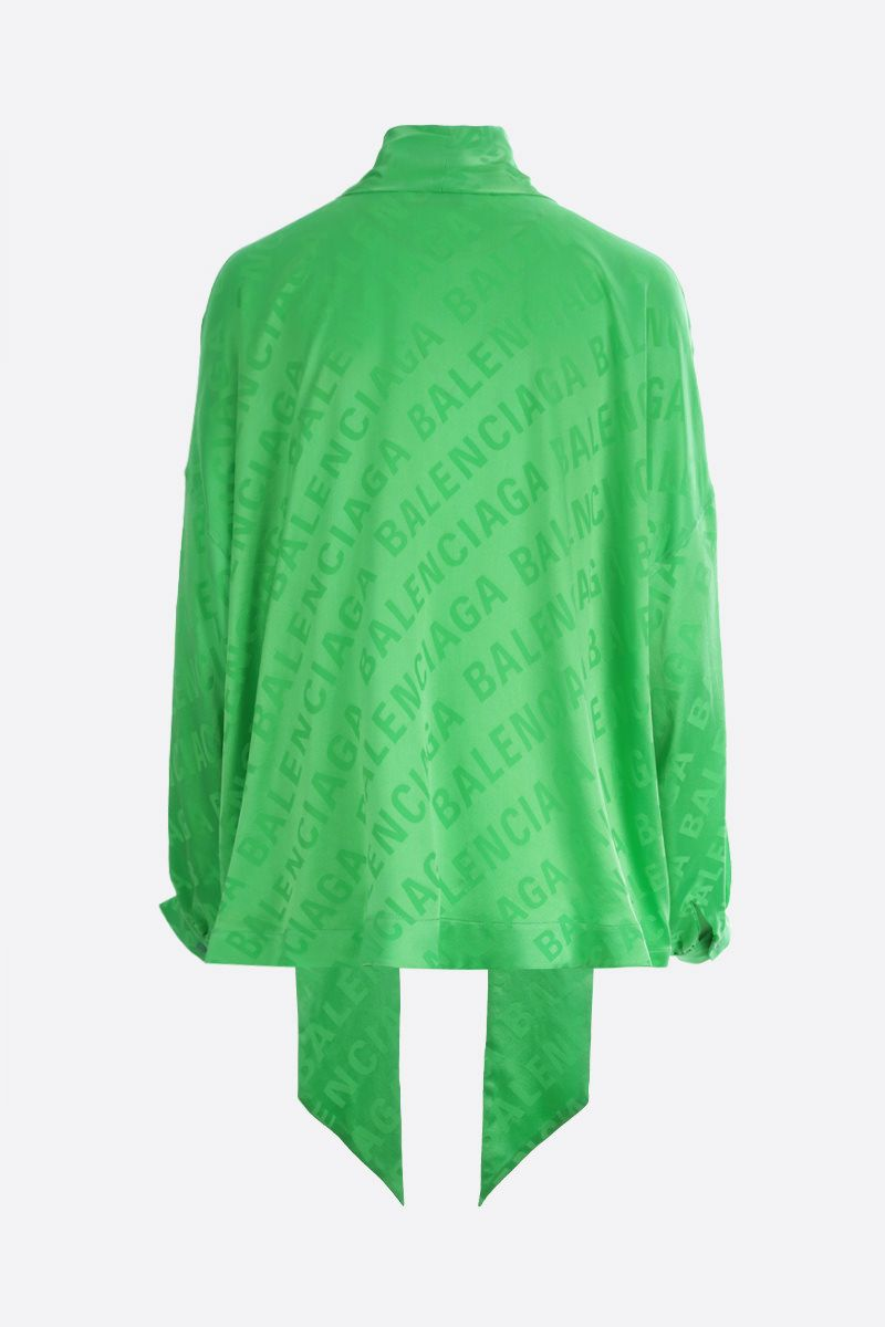 BALENCIAGA: Vareuse silk jacquard oversized blouse Color Green_2