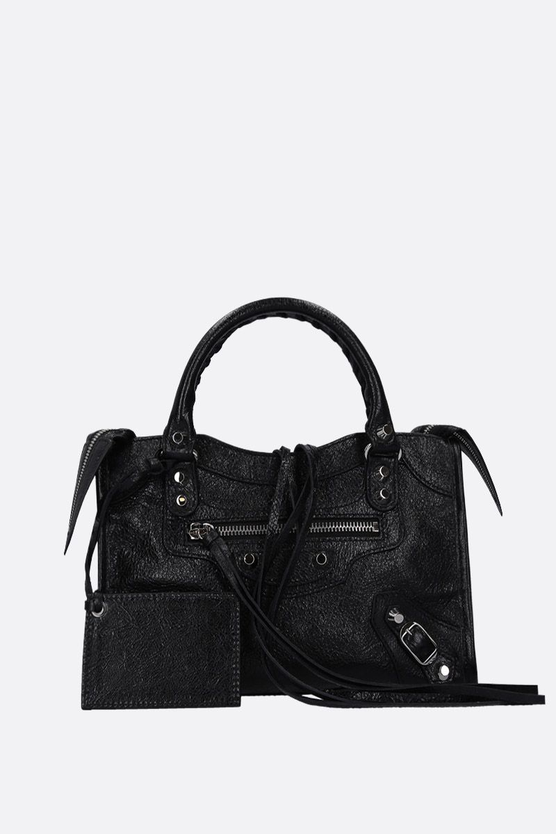 BALENCIAGA: borsa a mano Classic City mini in pelle Arena Colore Nero_1