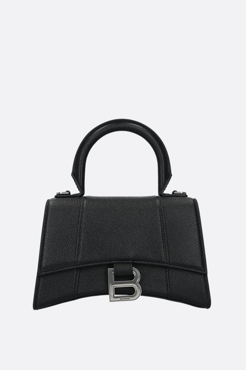 BALENCIAGA: Hourglass XS grainy leather handbag Color Black_1