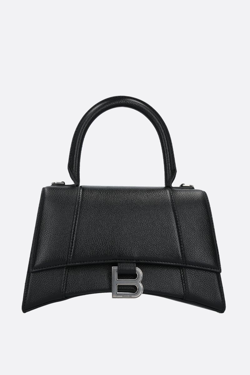 BALENCIAGA: Hourglass small grainy leather handbag Color Black_1