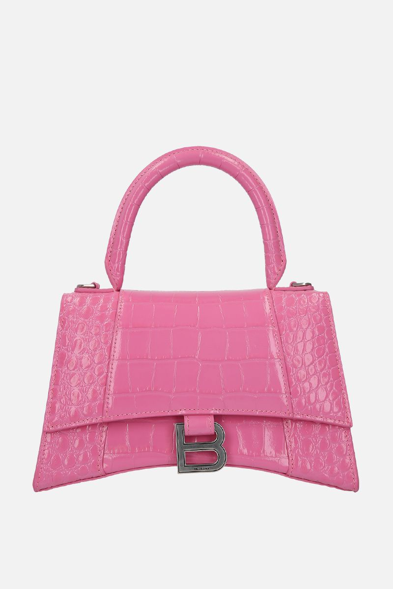 BALENCIAGA: Hourglass small crocodile embossed leather handbag Color Pink_1
