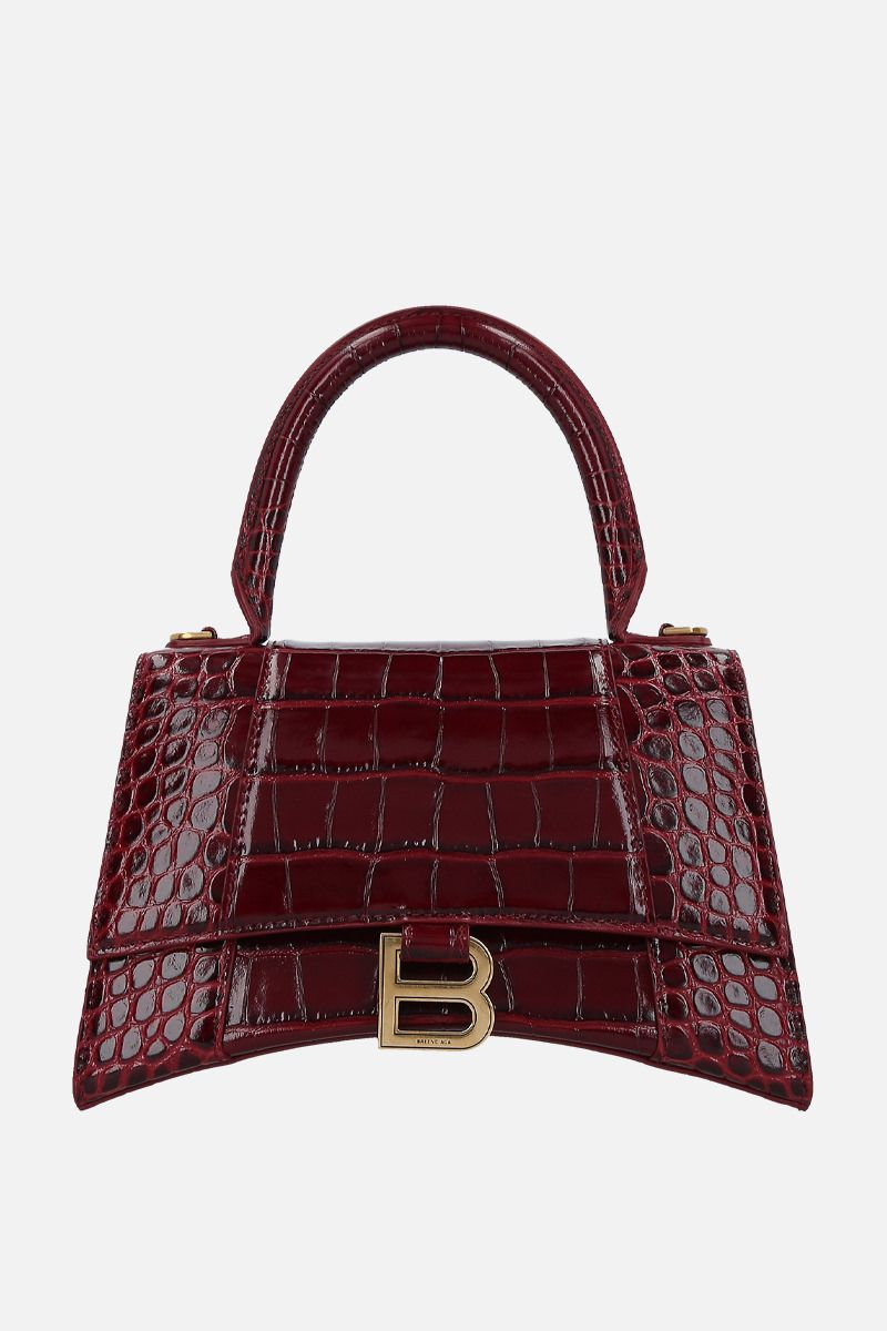 BALENCIAGA: Hourglass small crocodile embossed leather handbag Color Red_1