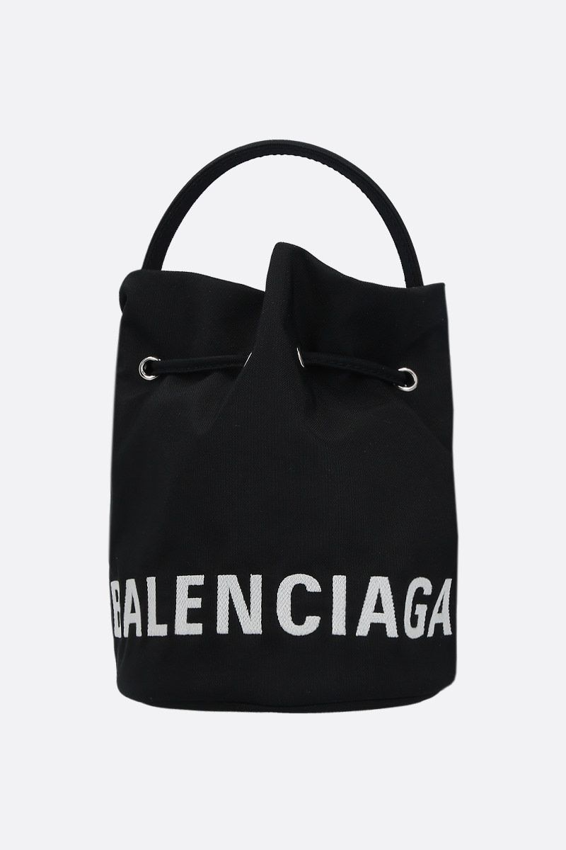 BALENCIAGA: Wheel XS nylon bucket bag Color Black_1