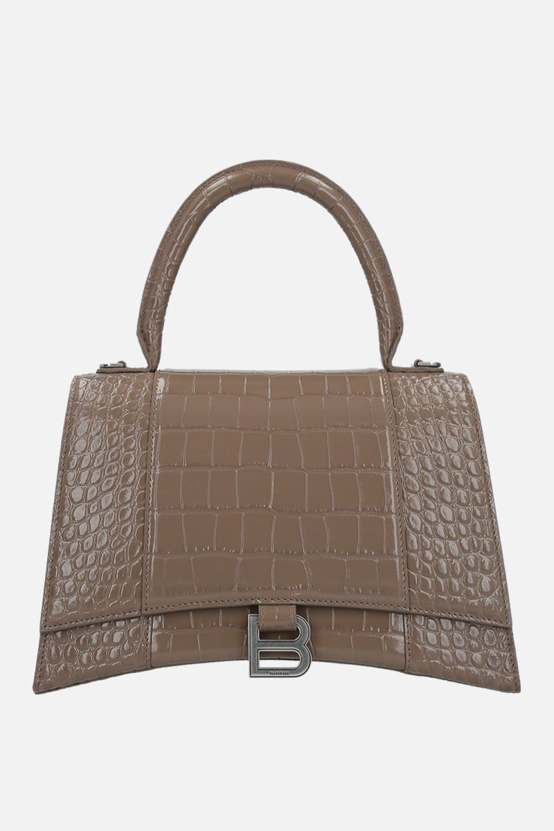 BALENCIAGA: Hourglass medium handbag in crocodile embossed leather_1