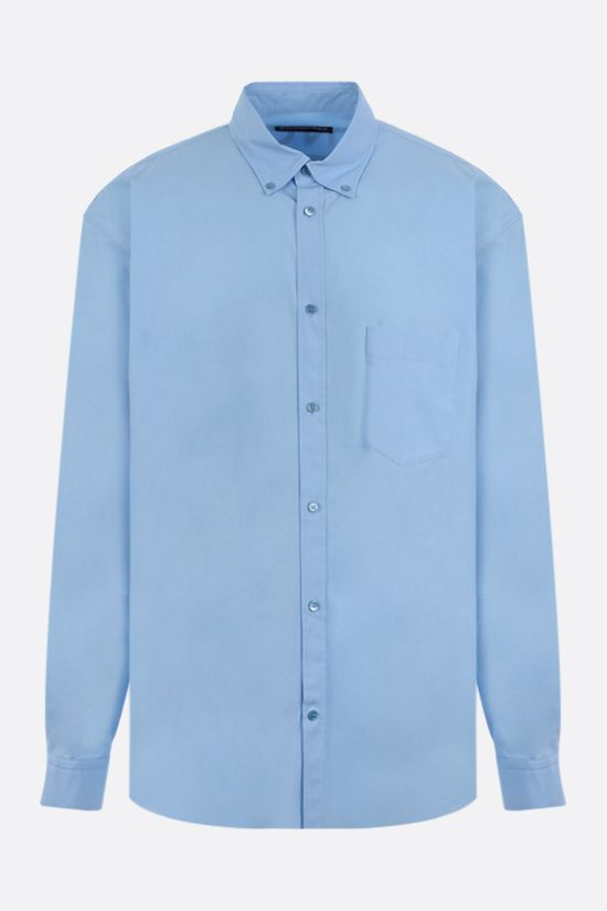 BALENCIAGA: logo print cotton poplin shirt Color Blue_1
