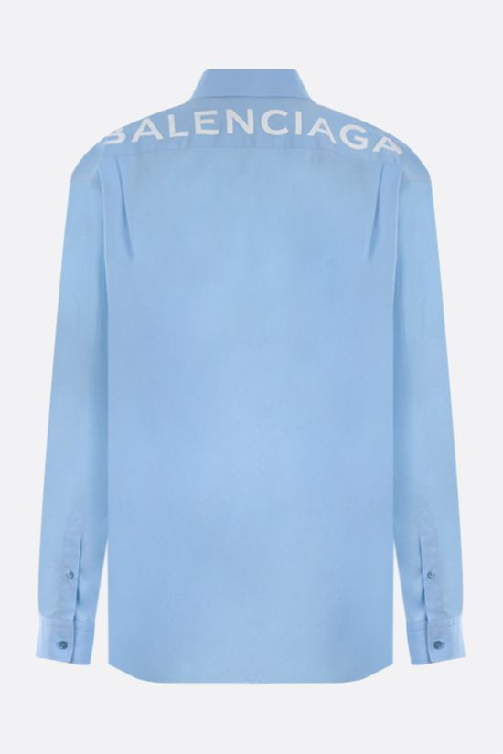 BALENCIAGA: logo print cotton poplin shirt Color Blue_2
