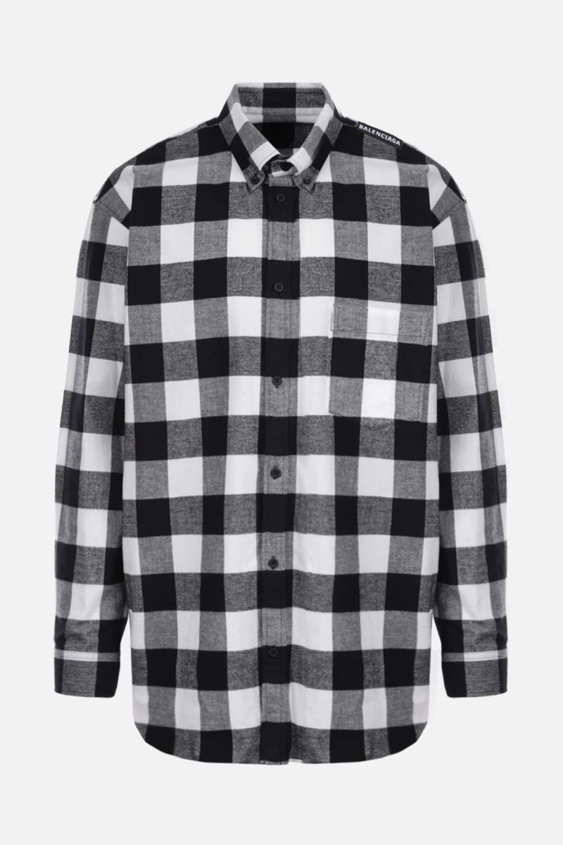 BALENCIAGA: oversize check flannel shirt Color Black_1