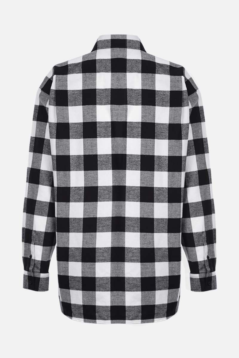 BALENCIAGA: oversize check flannel shirt Color Black_2