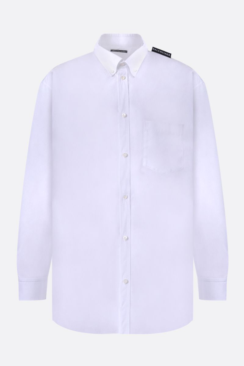 BALENCIAGA: logo label-detailed cotton shirt Color White_1