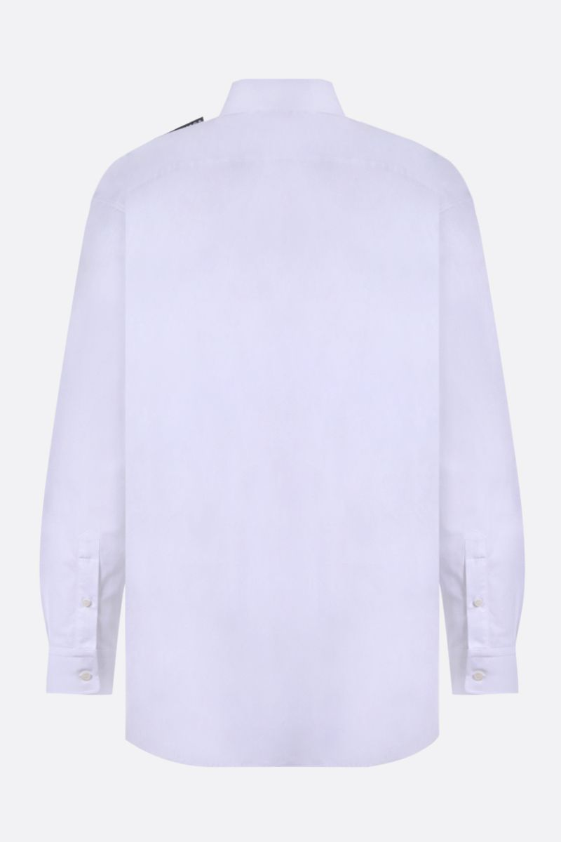 BALENCIAGA: logo label-detailed cotton shirt Color White_2