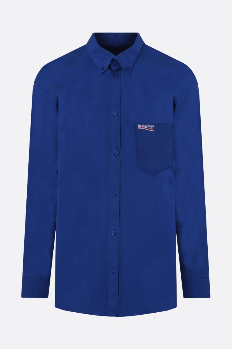 BALENCIAGA: Balenciaga embroidered cotton shirt Color Blue_1
