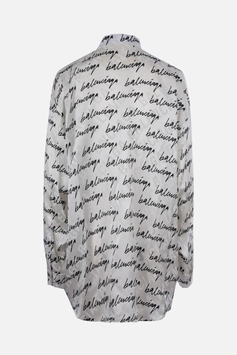BALENCIAGA: scribble logo print silk shirt Color White_2