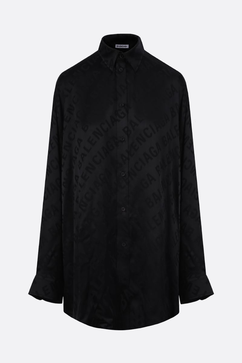 BALENCIAGA: logo jacquard silk shirt Color Black_1