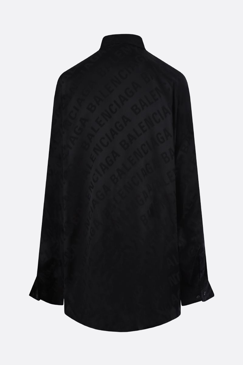 BALENCIAGA: logo jacquard silk shirt Color Black_2