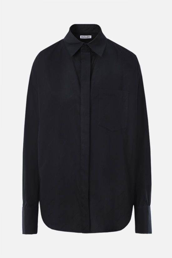 BALENCIAGA: jacquard logo cotton shirt Color Black_1