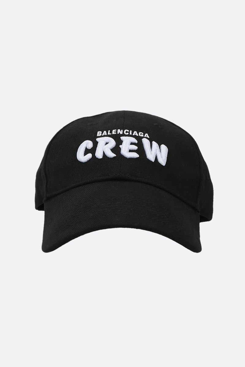 BALENCIAGA: Crew embroidered canvas baseball cap Color Black_1