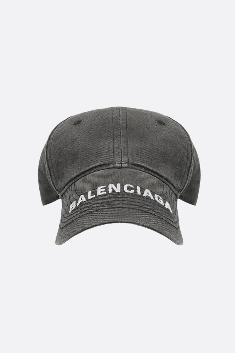 BALENCIAGA: Balenciaga washed denim baseball cap Color Black_1