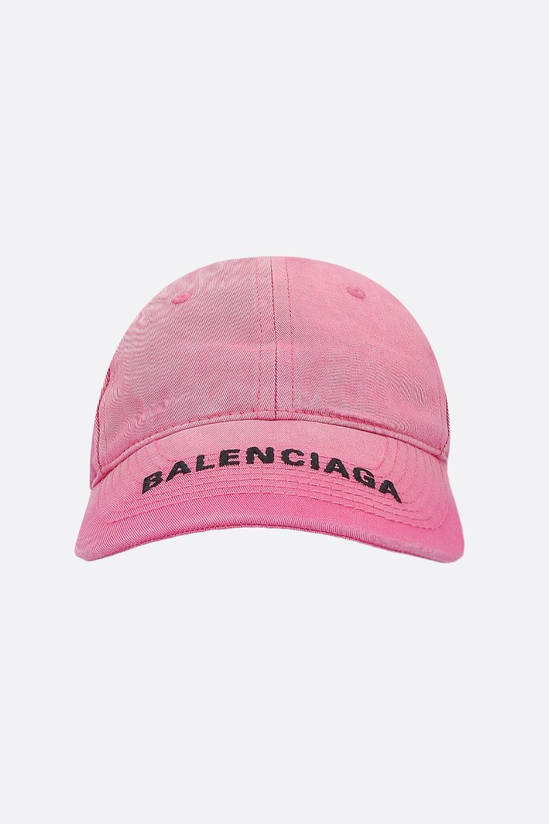 BALENCIAGA: Balenciaga Washed denim baseball cap Color Pink_1