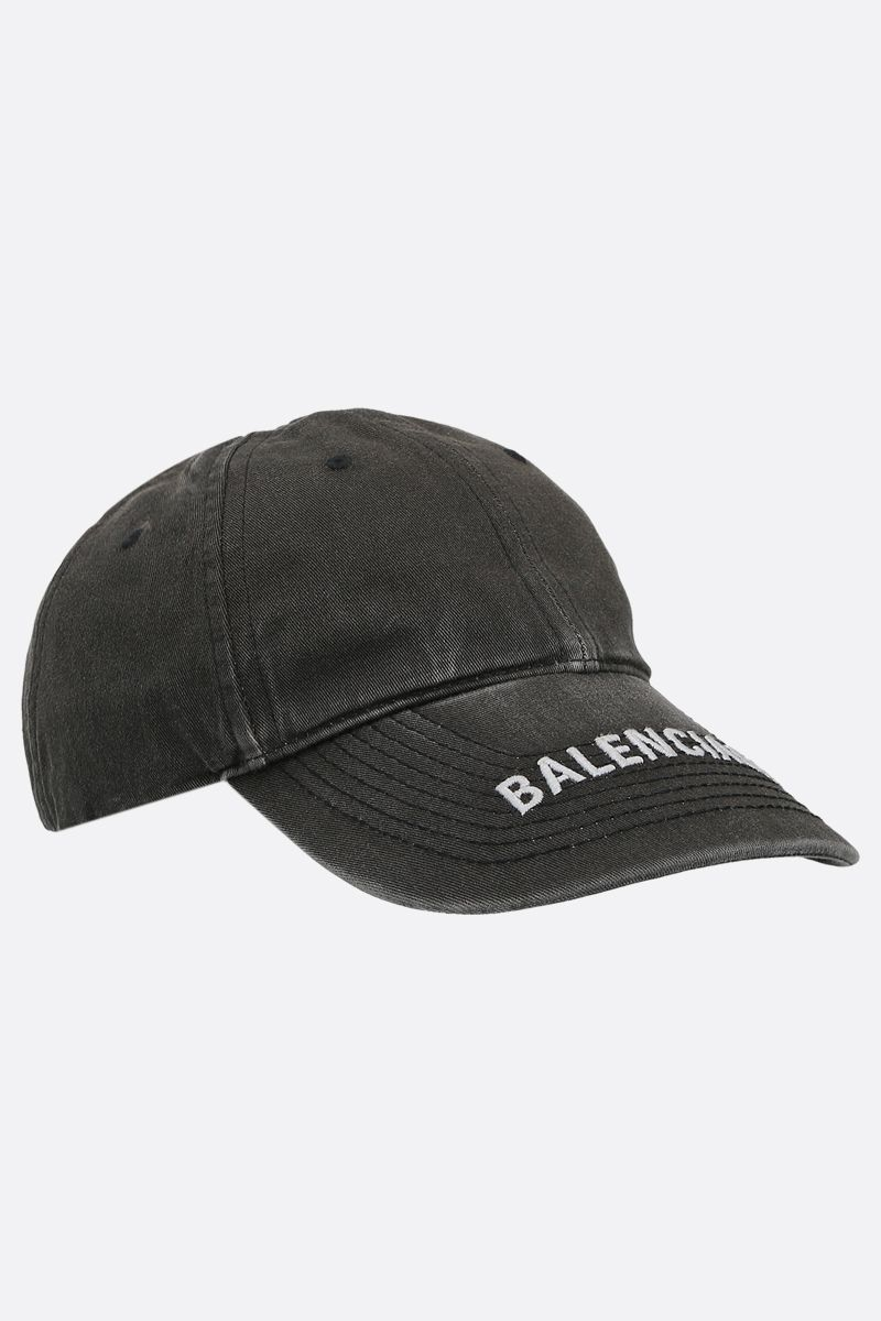 BALENCIAGA: Balenciaga washed denim baseball cap Color Black_2