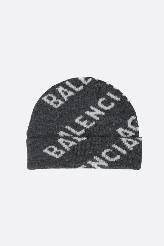 BALENCIAGA: jacquard logo wool beanie Color Grey_2
