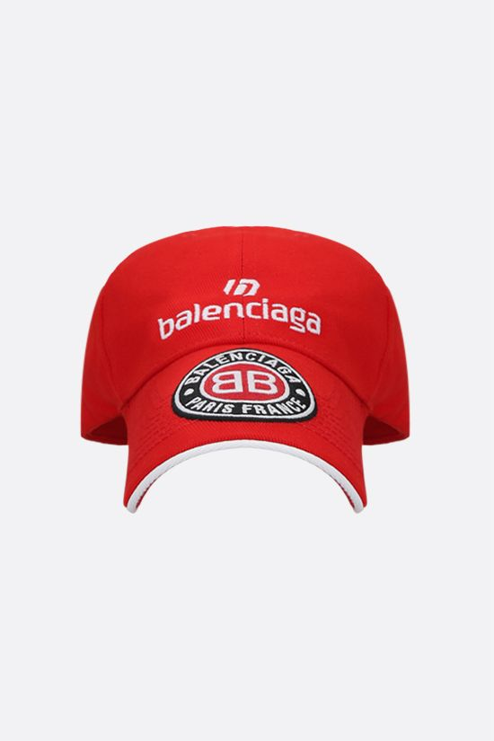 BALENCIAGA: Sponsor gabardine baseball cap Color Red_1