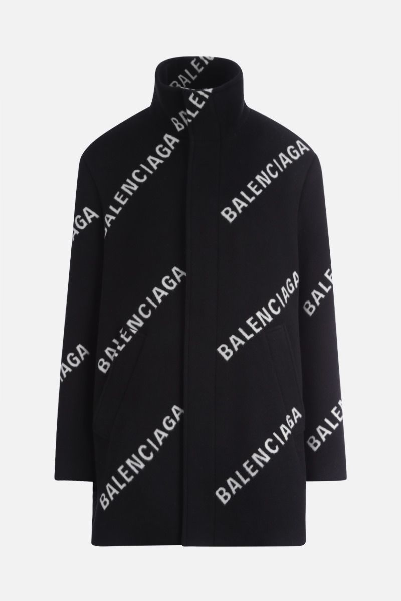 BALENCIAGA: logo print wool cashmere blend single-breasted coat Color Black_1