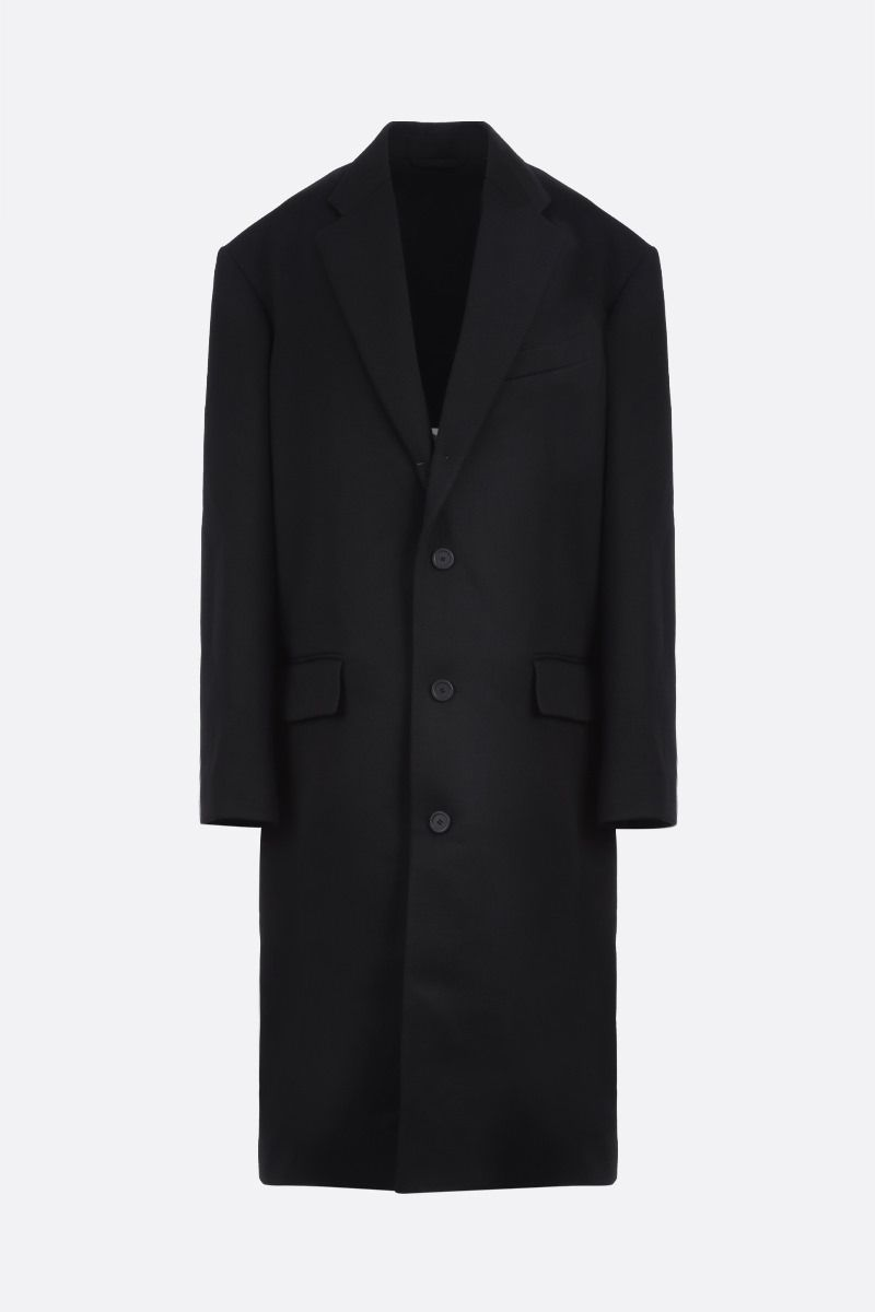 BALENCIAGA: wool blend oversize single-breasted coat Color Black_1