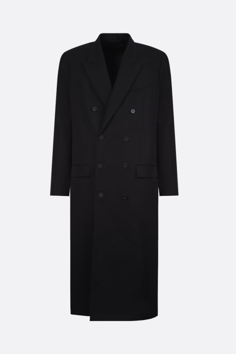 BALENCIAGA: wool double-breasted coat Color Black_1