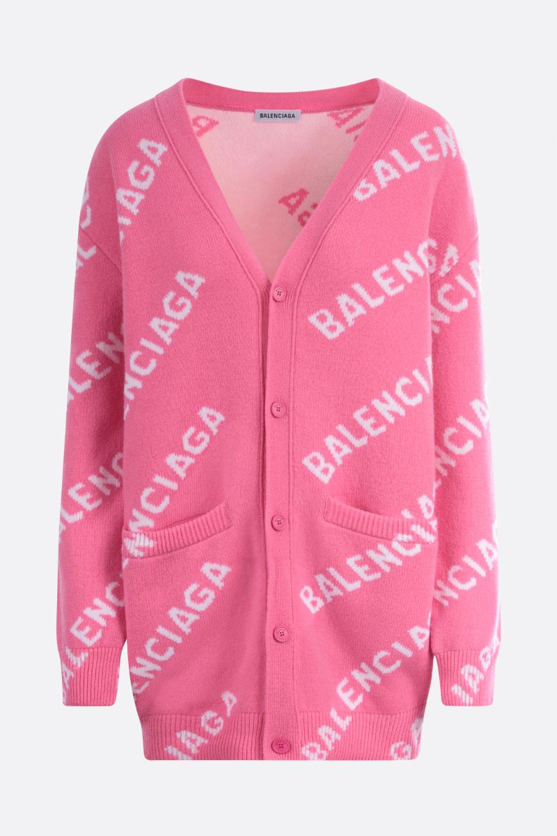 BALENCIAGA: jacquard logo-detailed wool blend cardigan Color Pink_1