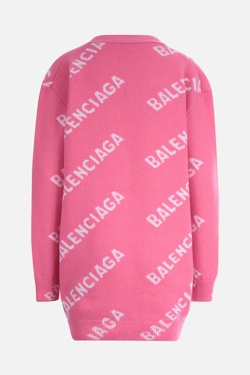 BALENCIAGA: jacquard logo-detailed wool blend cardigan Color Pink_2