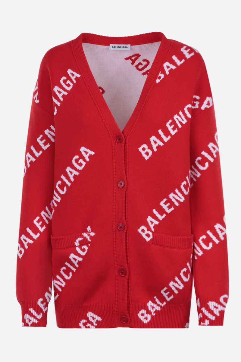 BALENCIAGA: jacquard logo cotton wool blend cardigan Color Multicolor_1