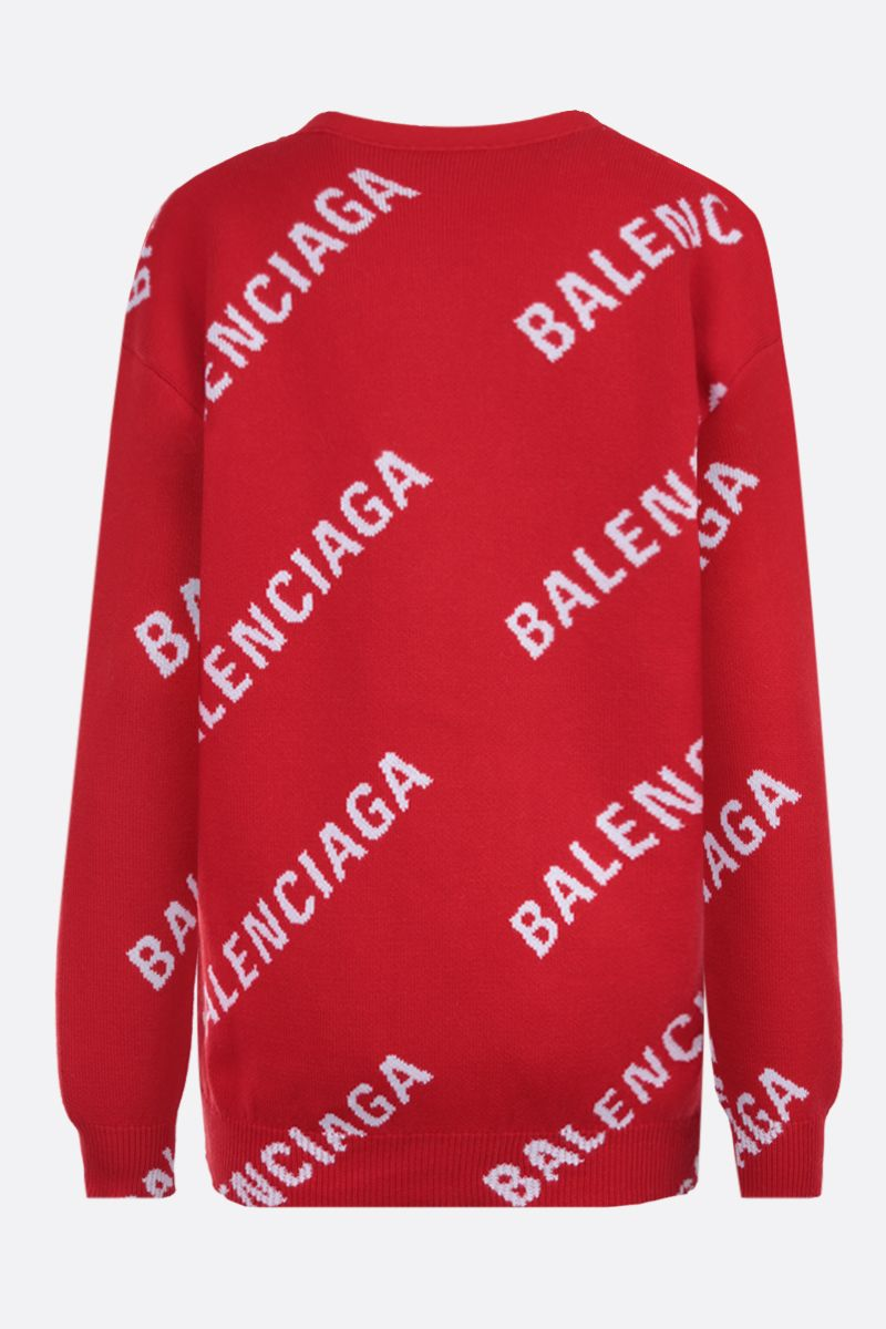 BALENCIAGA: jacquard logo cotton wool blend cardigan Color Multicolor_2