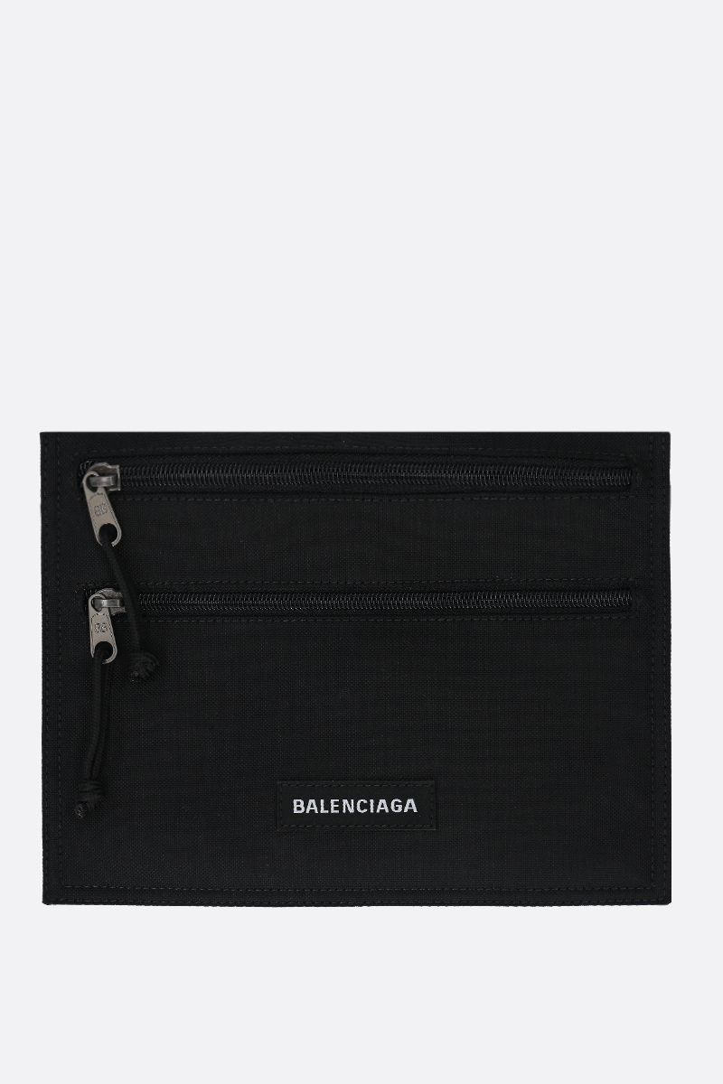 BALENCIAGA: Explorer nylon strap pouch Color Black_1