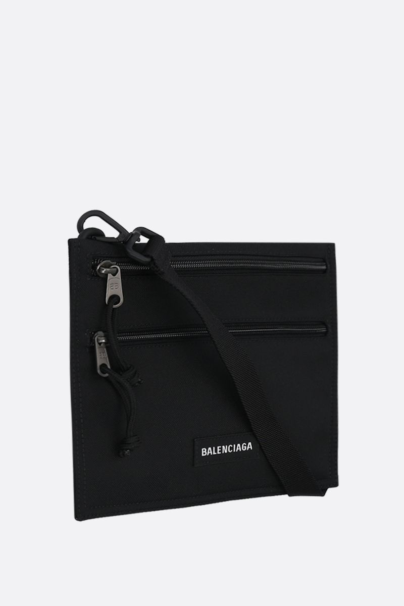 BALENCIAGA: Explorer nylon strap pouch Color Black_2