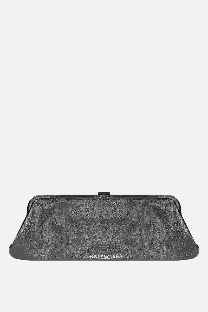 BALENCIAGA: Cloud XL laminated leather strap clutch Color Black_1