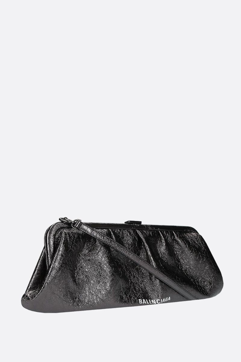 BALENCIAGA: Cloud XL laminated leather strap clutch Color Black_2