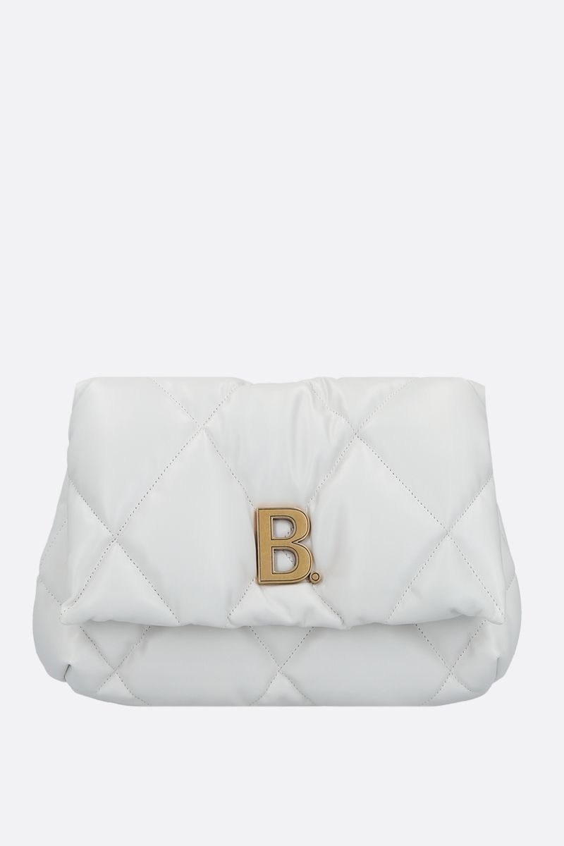BALENCIAGA: Touch Puffy M quilted nappa clutch Color White_1