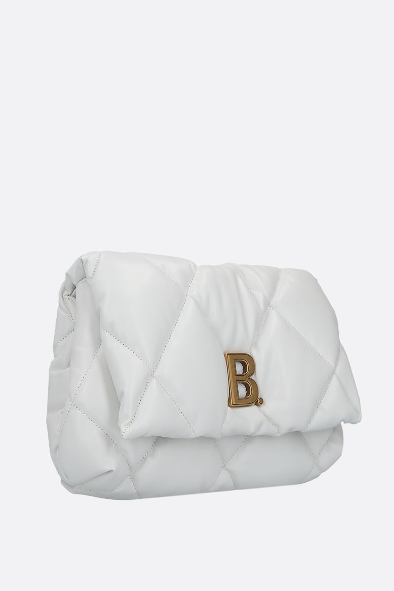 BALENCIAGA: Touch Puffy M quilted nappa clutch Color White_2
