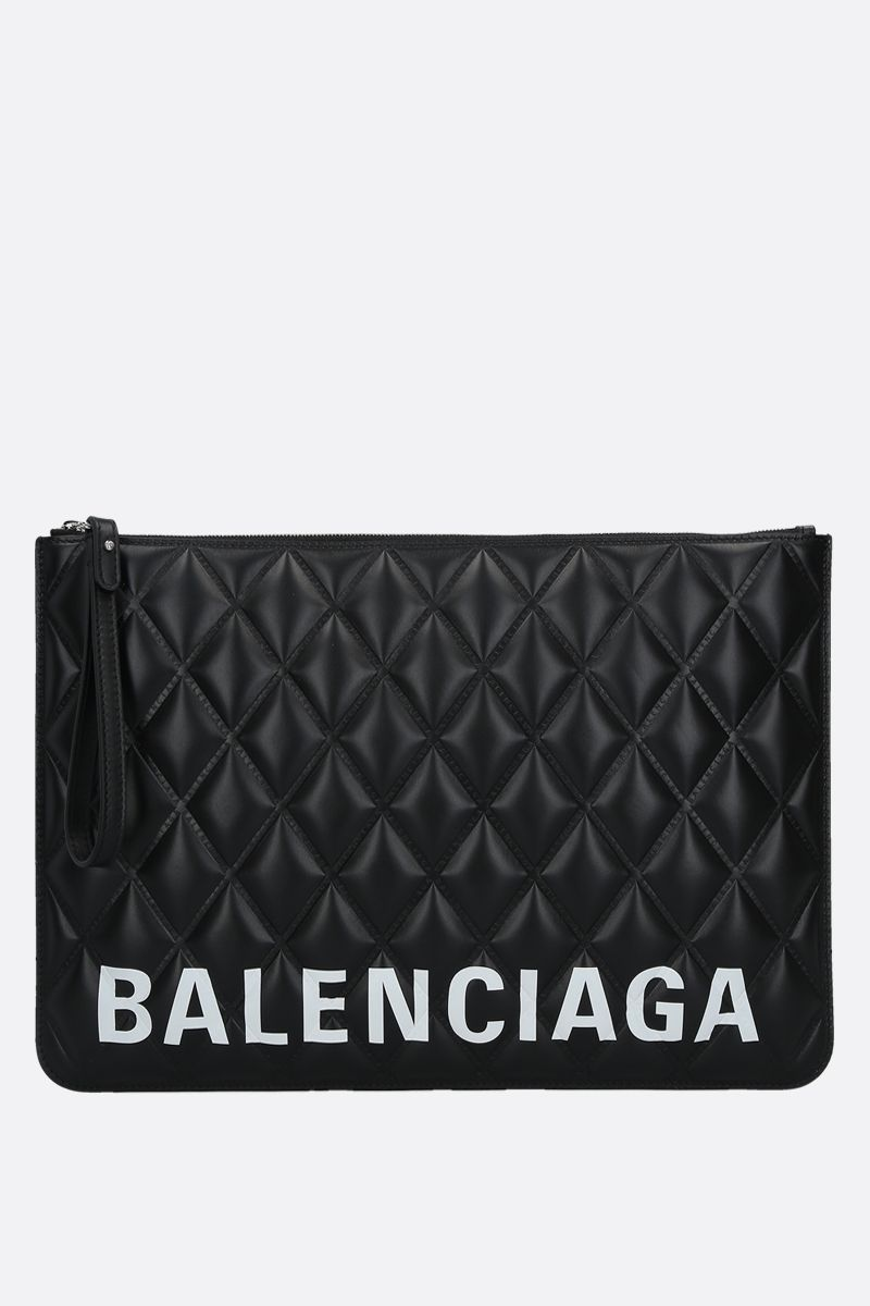 BALENCIAGA: Cash quilted leather pouch Color Black_1
