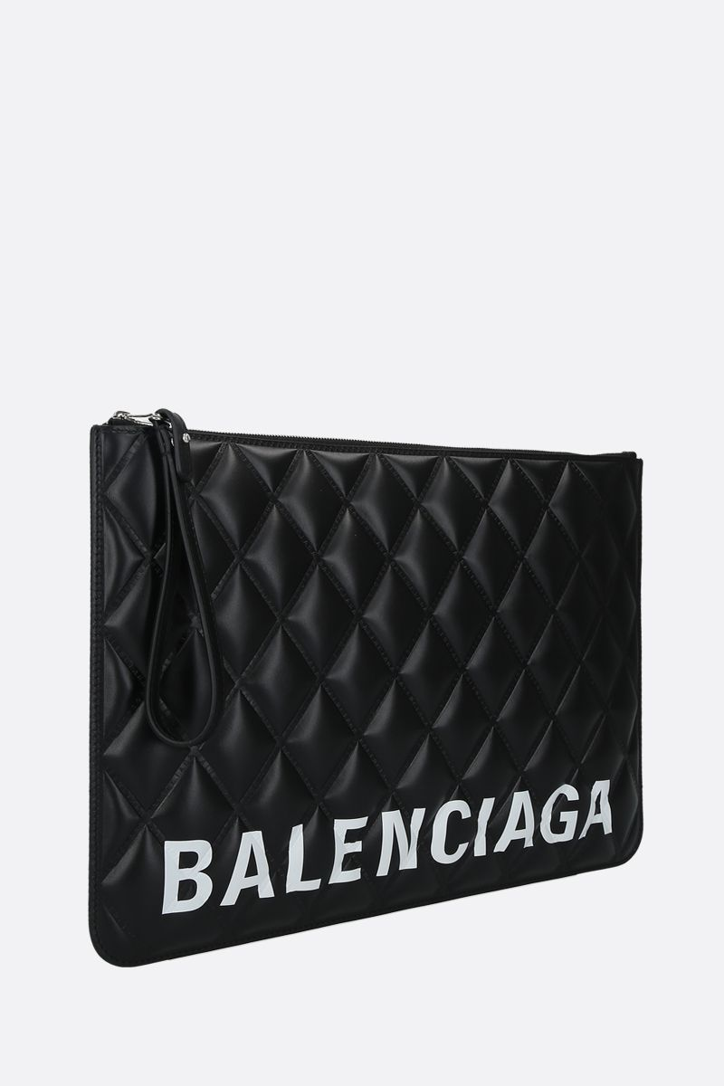 BALENCIAGA: Cash quilted leather pouch Color Black_2