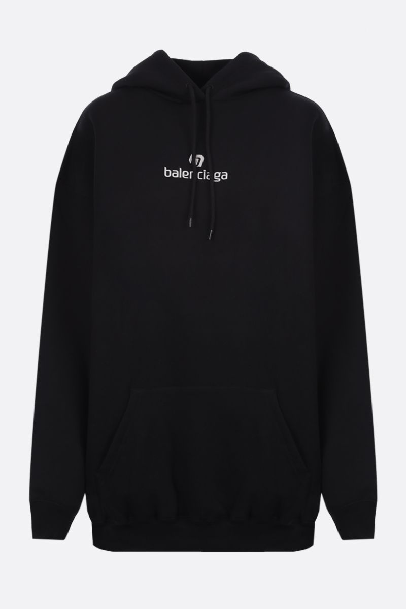 BALENCIAGA: oversize balenciaga embroidered cotton hoodie Color Black_1
