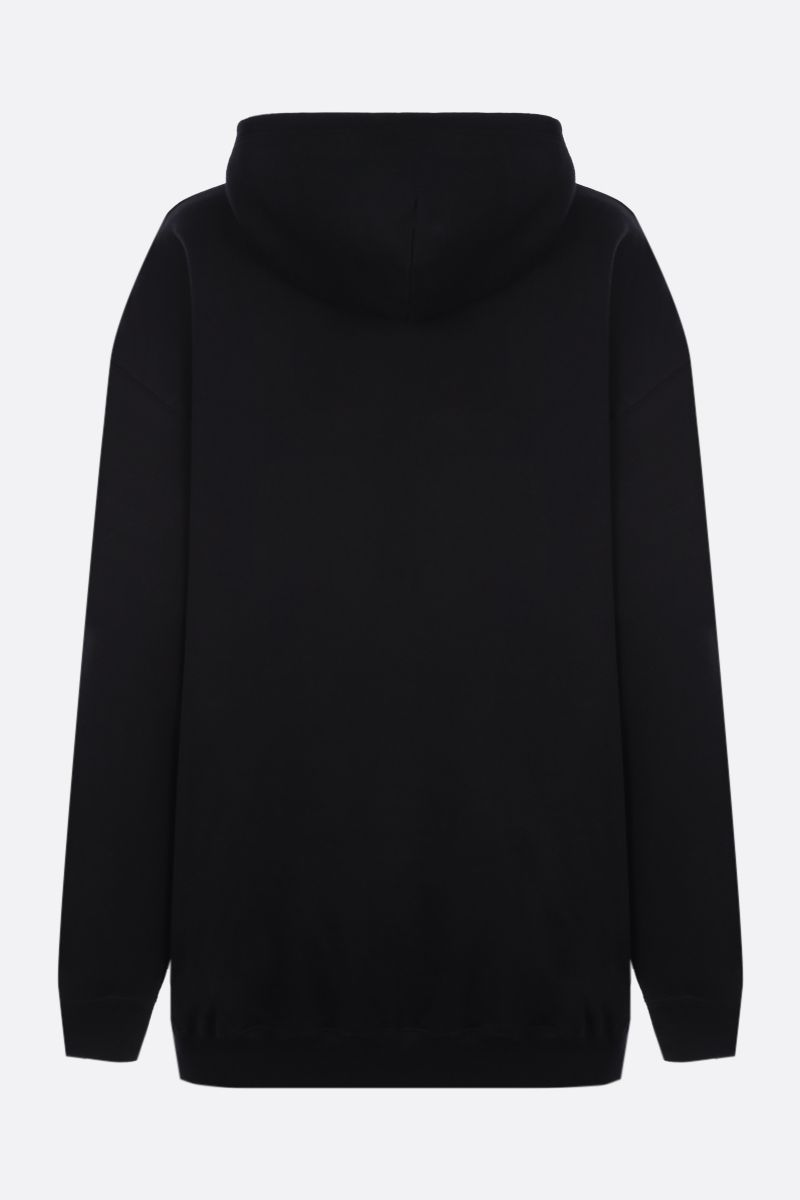 BALENCIAGA: oversize balenciaga embroidered cotton hoodie Color Black_2