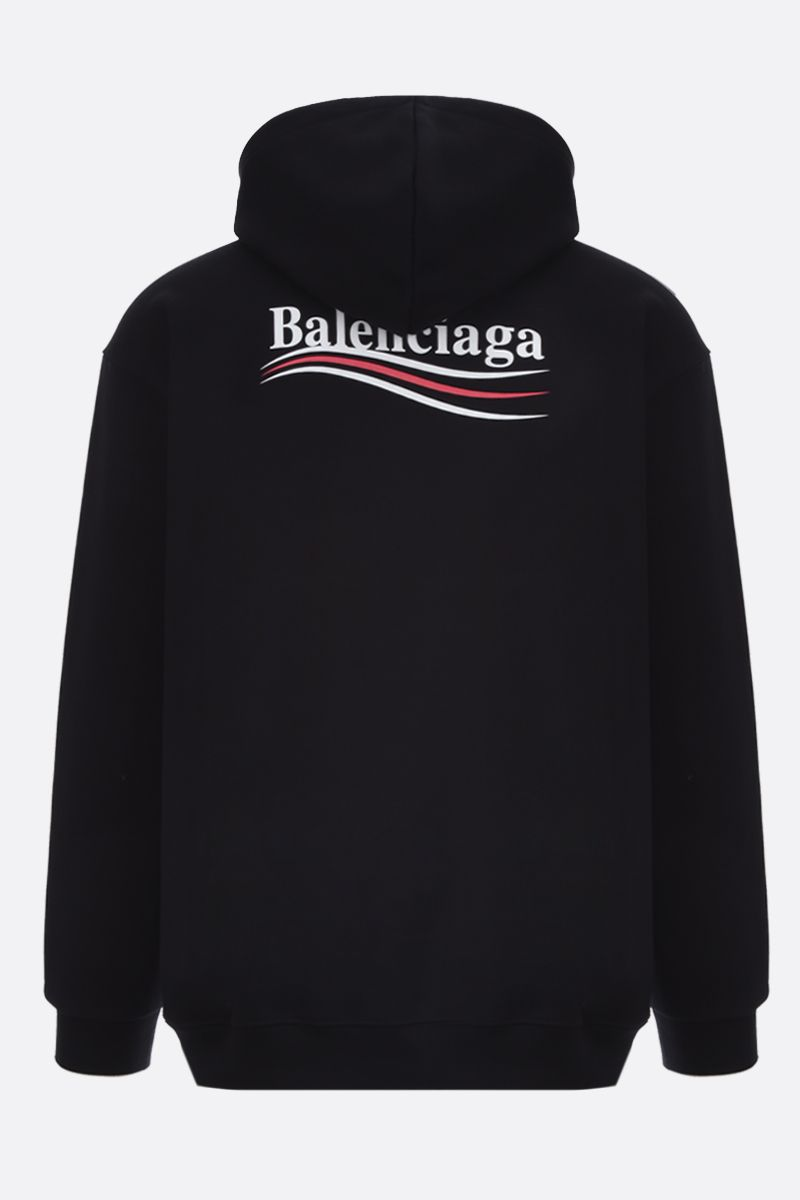 BALENCIAGA: Balenciaga logo print cotton hoodie Color Black_2