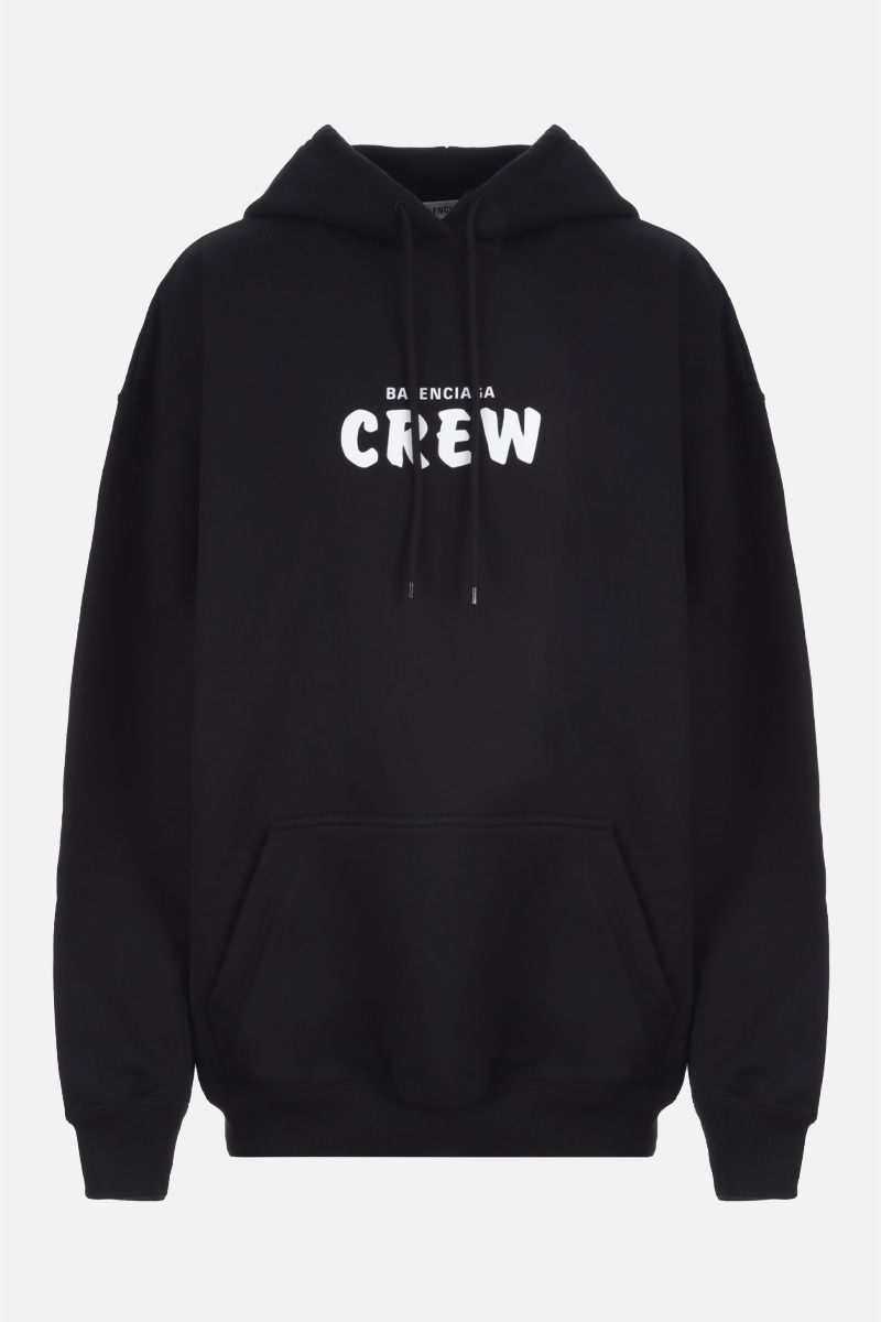 BALENCIAGA: Crew print cotton hoodie Color Black_1