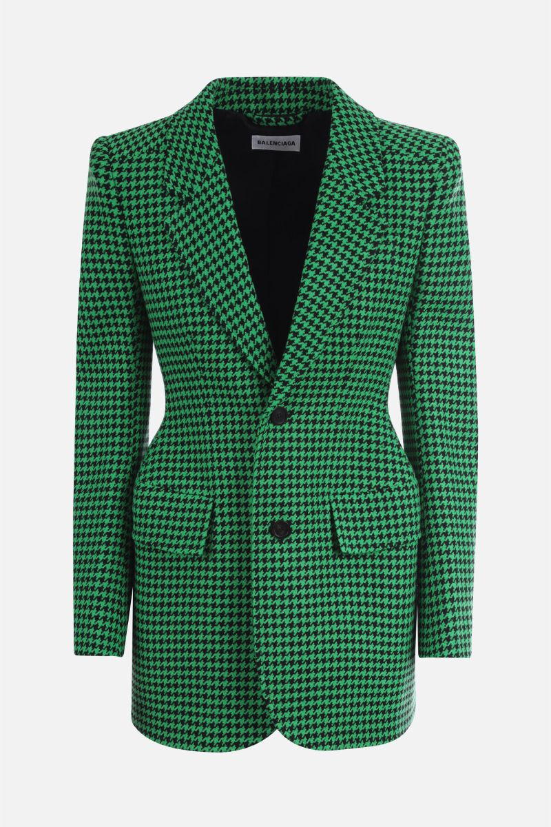 BALENCIAGA: houndstooth wool blend hourglass single-breasted jacket_1