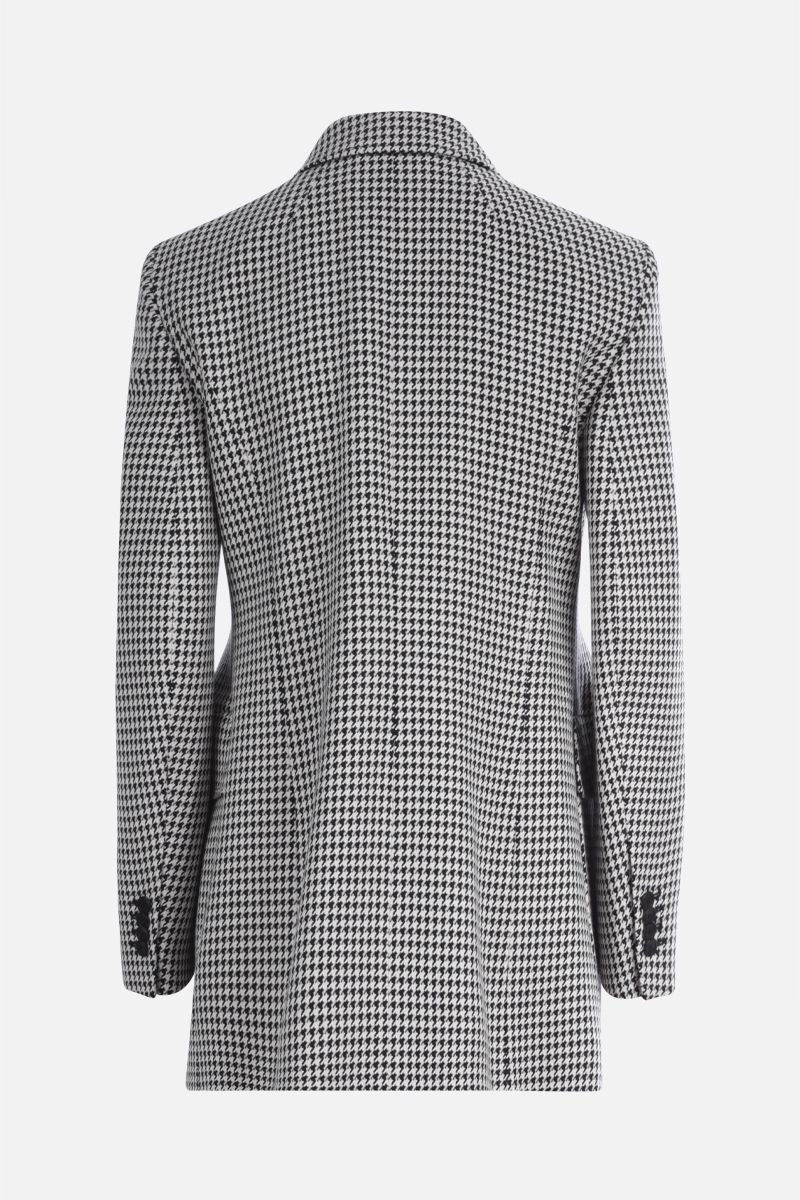 BALENCIAGA: houndstooth wool blend hourglass double-breasted jacket Color White_2