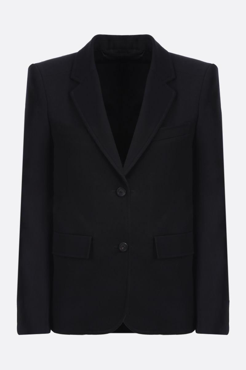 BALENCIAGA: curved shoulder-detailed wool single-breasted jacket Color Black_1